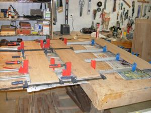 gluing up the drawer faces