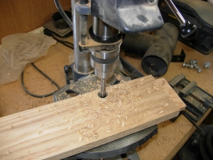 Drilling the notch for the spindle rest