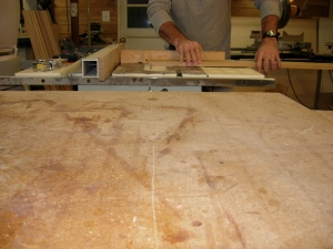 Cutting the long boards for the spindle rest drawers