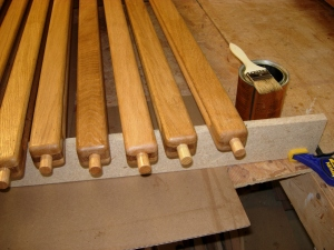 Finished urethaning the dowel ends