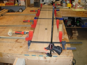 Clamping up the first bench seat