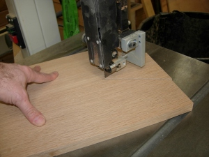 Cutting the vee notch on the band saw