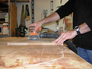 Sanding the last of the panels