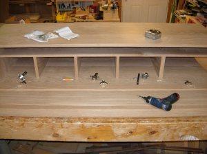 Cabinet side hinges installed