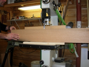 Finishing the resaw on the wider boards