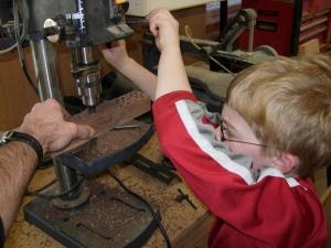 Adam drilling the walnut plugs