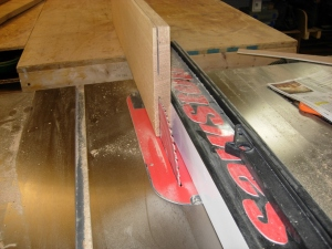 Pre-sawing the wide boards on the table saw