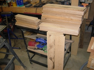 Resawn wood ready for planing
