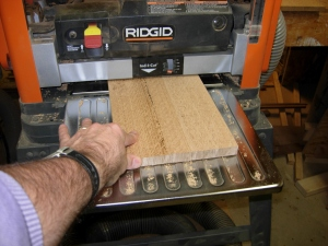 Planing the re-sawn wood