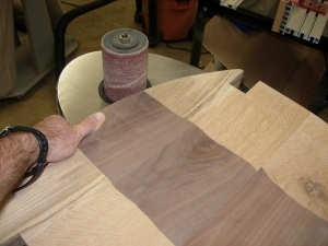 Sanding the sides of the seats