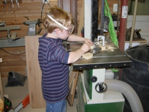 Cutting the hearts out on the bandsaw