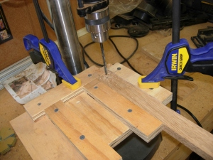 Drilling the narrower pieces