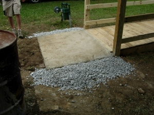 Concrete pad at the bottom