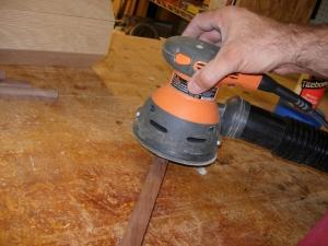 Sanding the trim pieces