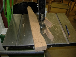 Cutting an arm on the bandsaw