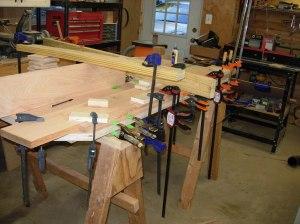 Glueing on two more strips of veneer