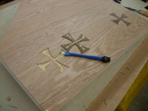 Glueing down the crosses