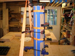 Column no. 2, strapped and drying