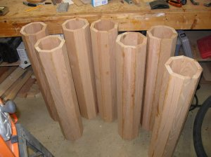 All seven columns, glued and filled