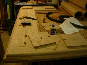 Drilling and setting the dowels in the altar base