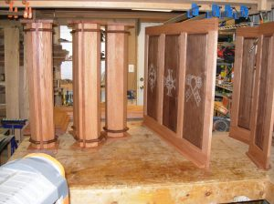 Panels and columns stained