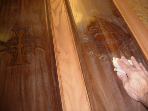 Sanding down the front panels
