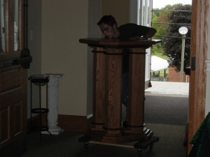 Ian wheeling in the tabernacle stand