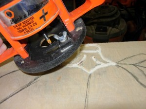 Tracing the lines with a router
