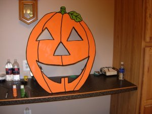 Pumpkin-head painted