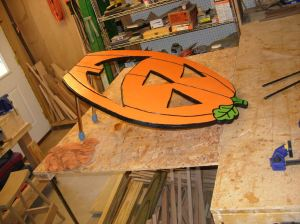 Letting the pumpkin dry