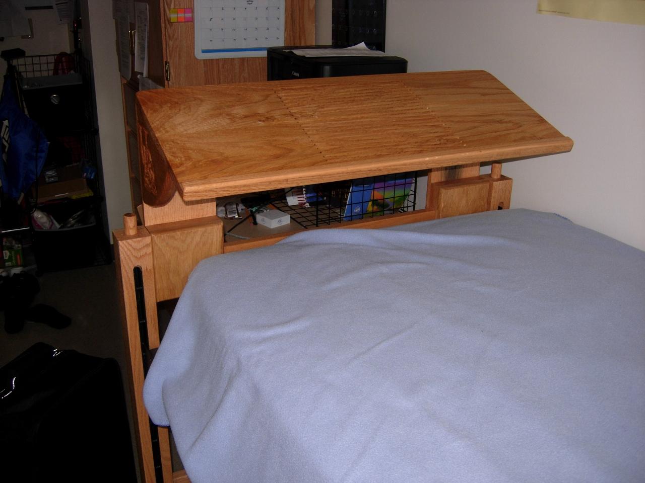 Laptop shelf for dorm bed - Delivered | Midnight Woodworking