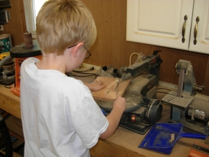Adam's first time on the scroll saw