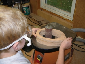 Sanding the glued up center