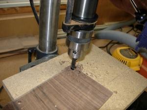 Drilling walnut plugs