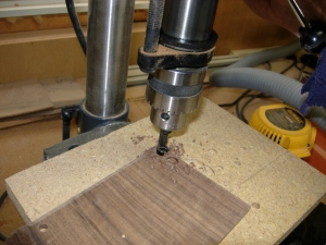 Drilling walnut plugs