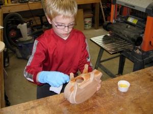 Adam applying the Tung oil