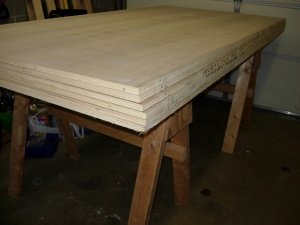 "Seven sheets of 3/4"" oak plywood"