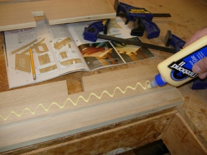 Laminating  the top rail