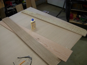 applying glue to the rear stiffeners