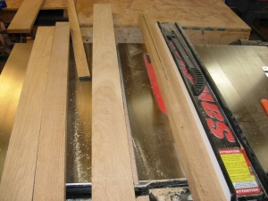 Ripping 6/4 boards for the shelf edge banding