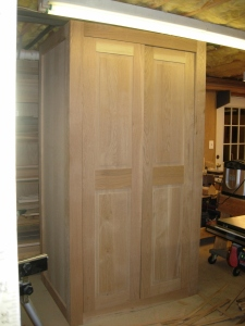 Doors leaned into place