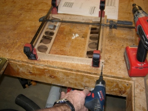 Glueing up the bottom and pre-drilling the top
