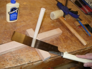 "Setting and cutting a 3/4"" dowel"