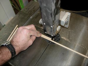 "Cutting dowels to 5"" lengths"