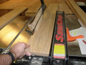 Ripping four solid pieces for the top of the base cabinet
