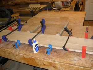 Clamping up the halves of the panel
