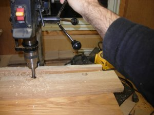 Drilling the drawer sides