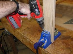 Drilling pocket holes for drawer assembly