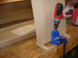 Drilling the top attachment pocket holes