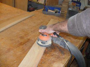 Sanding the trim